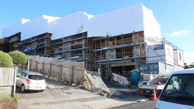 Four townhouses for The Block NZ are under tents. Contestants are expected to arrive this week