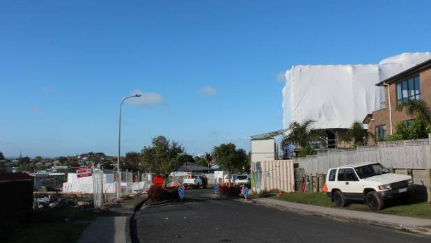 On Potter Ave in Northcote, The Block NZ houses, right, are going up opposite a Housing NZ development.
