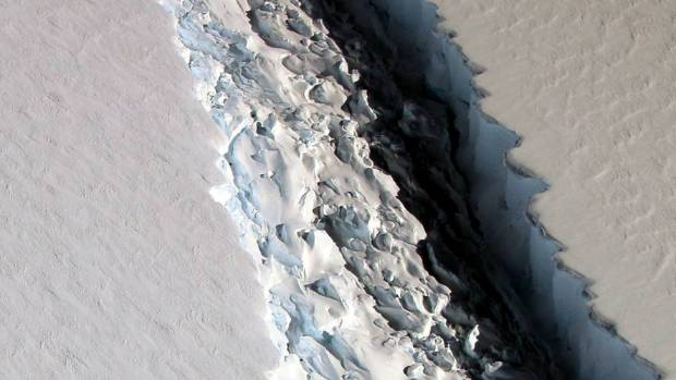 A massive rift in the Antarctic Peninsula's Larsen C ice shelf seen on November 10, 2016.