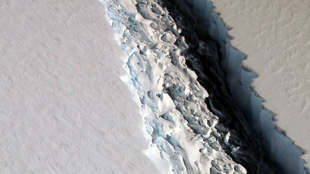 What is happening to the massive ice shelf in Antarctica?