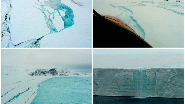 A combination of aerial photographs taken in February and March 2002 of parts of the Larsen B shelf in the Antarctic ...