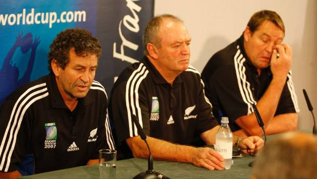 Wayne Smith, Graham Henry and Steve Hansen after the loss to France at the 2007 World Cup.