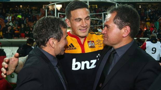 Sonny Bill Williams with Wayne Smith, left, and Dave Rennie after the Chiefs' Super Rugby victory in 2012.