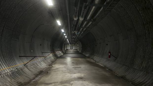 The entrance tunnel to the international gene bank. Melting permafrost flooded the entrance to the vault, turning it ...