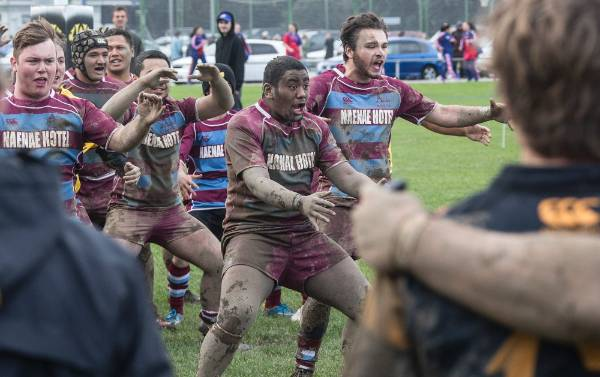 Honouring the late Daniel Baldwin, Avalon perform a haka after the match was called off.