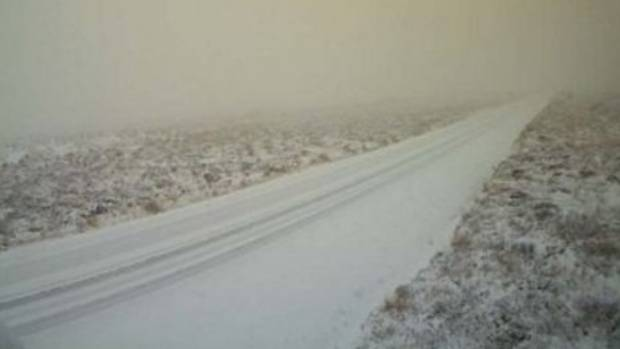 Snow blankets the Desert Road on May 20.
