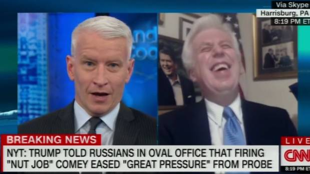 """If [Trump] took a dump on his desk, you would defend it,"" Anderson Cooper said to Trump backer Jeffrey Lord."