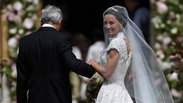 Pippa Middleton, the sister of Britain's Catherine, Duchess of Cambridge, arrives for her wedding to James Matthews.