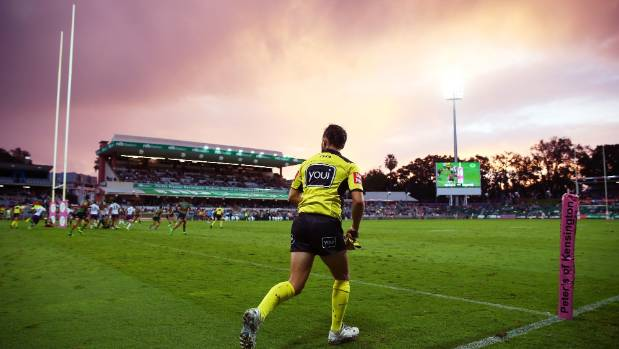 The sun sets over nib Stadium in Perth as the Storm and Rabbitohs do battle.