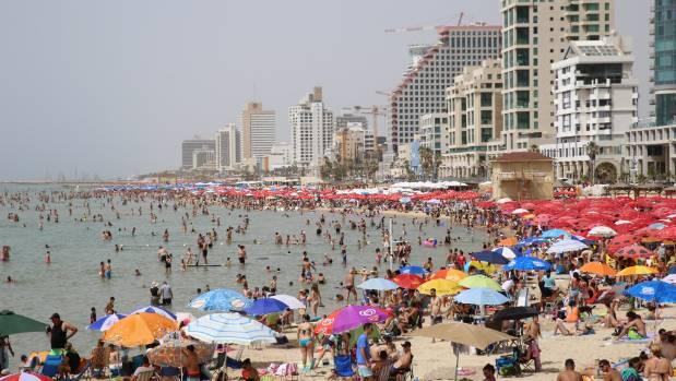 Crowded beach in Tel Aviv.