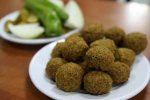Falafel served piping hot in East Jerusalem.