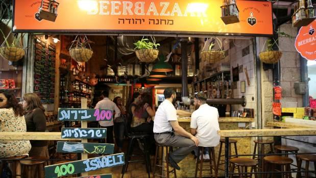 Craft beer bar at Mahane Yehuda Market, Jerusalem.
