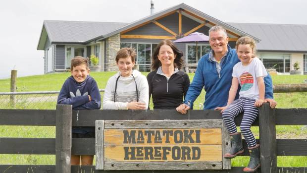 The Scott family, from left to right, Henry, Annabelle, Fiona, Paul  and Megan Scott of Matatoki Hereford Stud.
