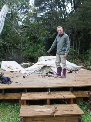 Ian Eggleton and the glamping site.