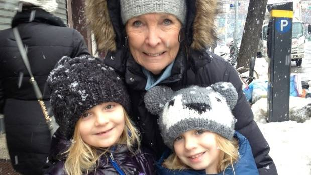 Patricia Taylor with granddaughters Isabel and Zoe, both 10, on a snowy day in New York.