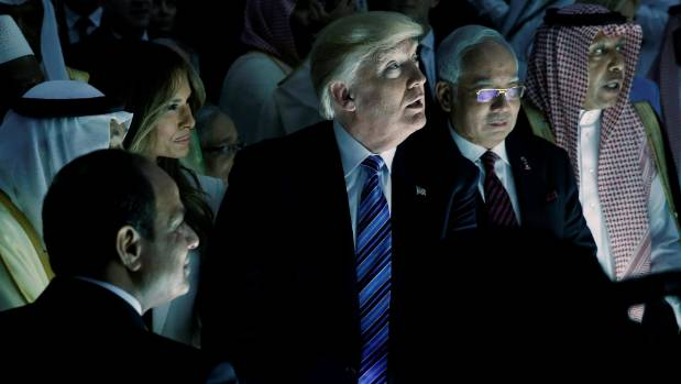 US President Donald Trump and other leaders tour the Global Center for Combatting Extremist Ideology in Riyadh.