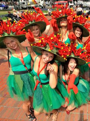 In 2011 Samantha Johnston, second from right, was part of the group of pohutukawa. Other Kiwi themed costumes include a ...
