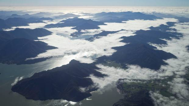 Low cloud over the Marlborough Sounds.