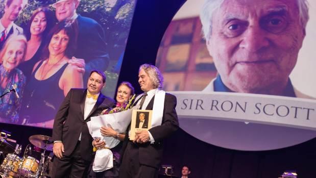 Steve Hansen, Sir Ron Scott's daughter Lise Kljakovic and Marco Kljakovic.