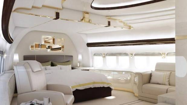 Master bedroom of a Boeing VIP 747-8.