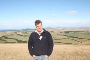 Simon Engelbrecht on a windswept ridge overlooking his family's 611ha Stoneburn farm in East Otago.
