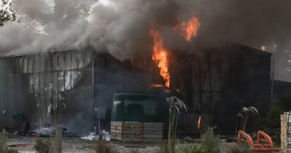 The New Zealand Natural Honey factory in North Canterbury went up in flames on Tuesday afternoon.