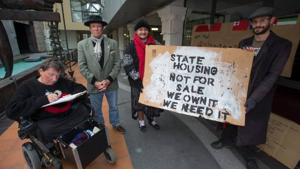 The Manawatu Tenants' Union is urging other to join with them to demand more state homes, and affordable rent. Pictured ...