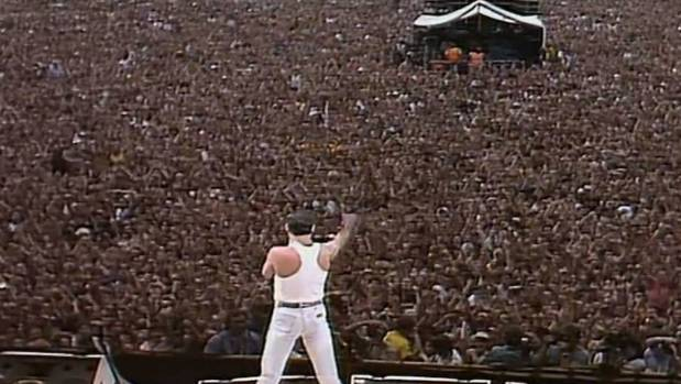 We Will Rock You: Freddie Mercury on stage at Wembley Stadium for Live Aid in 1985.