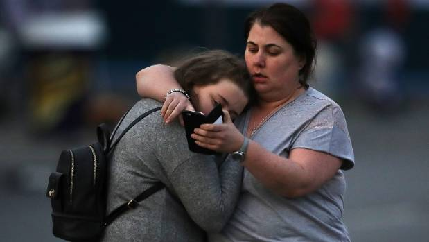 Ariana Grande concert attendees Vikki Baker and her daughter Charlotte, aged 13, leave the Park Inn where they were ...