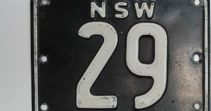 "Australian numberplate NSW ""29"" sold for a record price at auction."