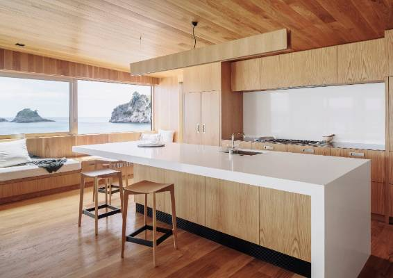 American Oak Veneer Cabinets Are Teamed With White Caesarstone In The  Kitchen In This Beach House