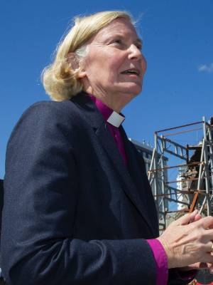 Bishop Victoria Matthews in front of the Christchurch Cathedral in 2015.