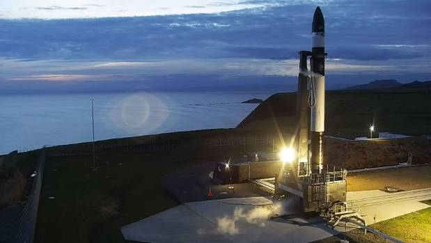 Rocket Lab's first rocket at the company's Mahia Peninsula launch pad ahead of the test flight in May.