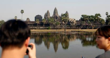 Tourists visit the Angkor Wat temple complex in Siem Reap province, Cambodia.
