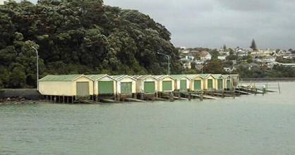 The boathouses on Ngapipi Rd are well known to Auckland commuters.