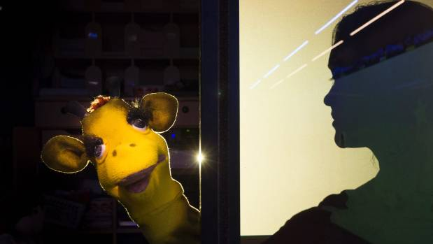 Life Education educator - aka Harold the giraffe -  Kapa Te Aho teaching at Plimmerton School.