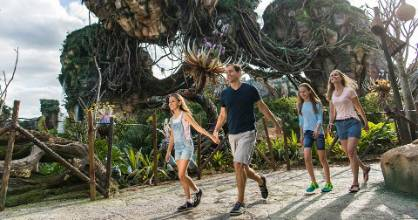 Floating mountains grace the sky while exotic plants fill the colorful landscape inside Pandora - The World of Avatar.
