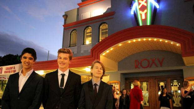 From left, Antonio Lim, Dan Wharton, and Nathan Pohl, of Tawa College, whose film Whai Whai won best VFX at the awards, ...