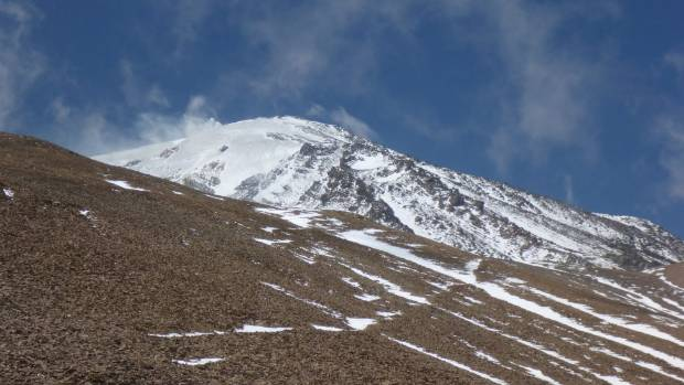 """""""Not long after leaving base camp, walking along volcanic scree."""""""