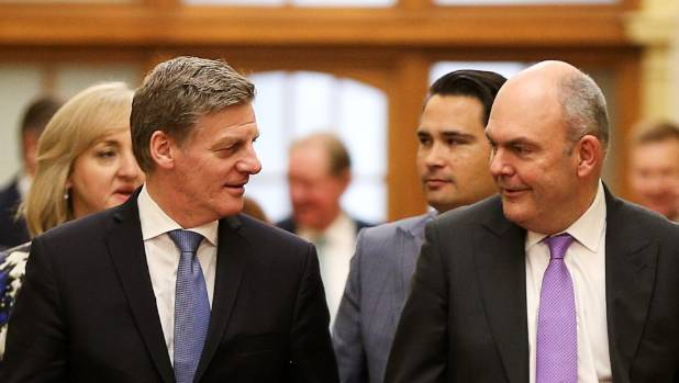 Prime Minister Bill English and Finance Minister Steven Joyce make their way to the house before the 2017 budget ...