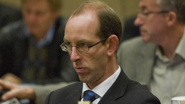 David Bain during his retrial in the Christchurch High Court, May 2009. Van Beynen is visible in the background working ...
