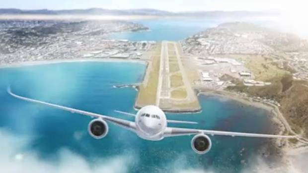 A drawing of what an extended Wellington Airport runway might look like.