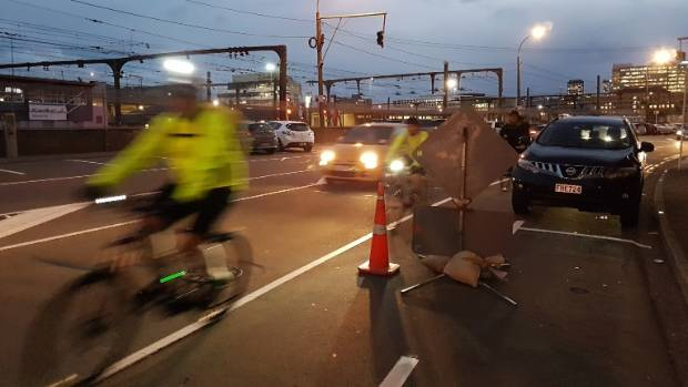 Road cones placed in cycle ways are increasing the risk cyclists face commuting in Wellington city.