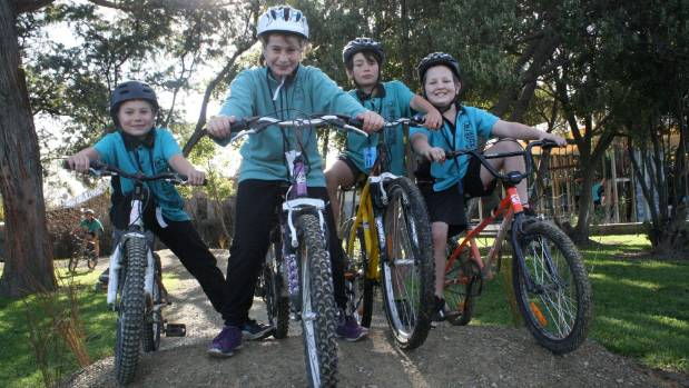 The new cycle track at Mayfield School has been a huge hit with pupils, from left, Vee-jay Koroheke, Payton ...
