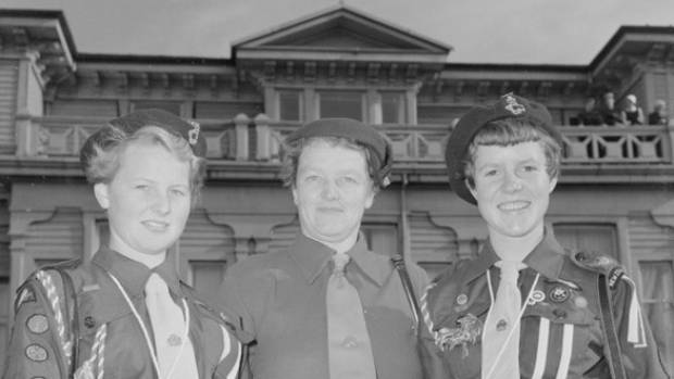 From left, Girl Guides Jane Blakely, Miss M Radford, and Patricia Lawry joined the Scouts on the six-week boat trip to ...