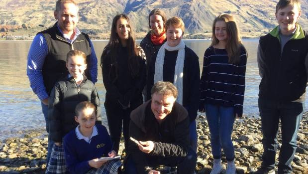 Environmental scientist Chris Arbuckle with Wanaka citizen science project partners, clockwise from left front, Hazel ...