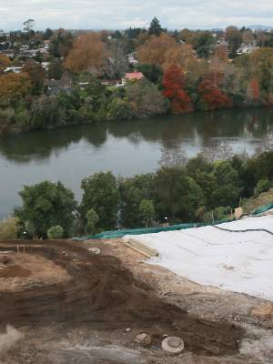 Earthworks are happening as construction gets under way on the Victoria on the River project.