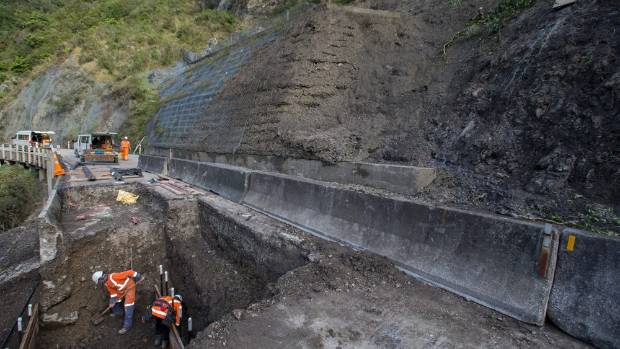 The left-hand lane of a section of the Manawatu Gorge road is being repaired after it collapsed in late April.