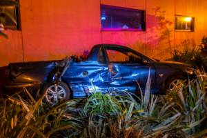 A resident said the ute was traveling at speed before it hit a parked van before eventually ending up in the shrubbery.