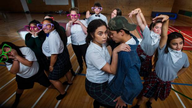 Brylee Coley, 16, and Kauri Harrison, 15, rehearse the lead roles in Rangitikei College's Stage Challenge performance.